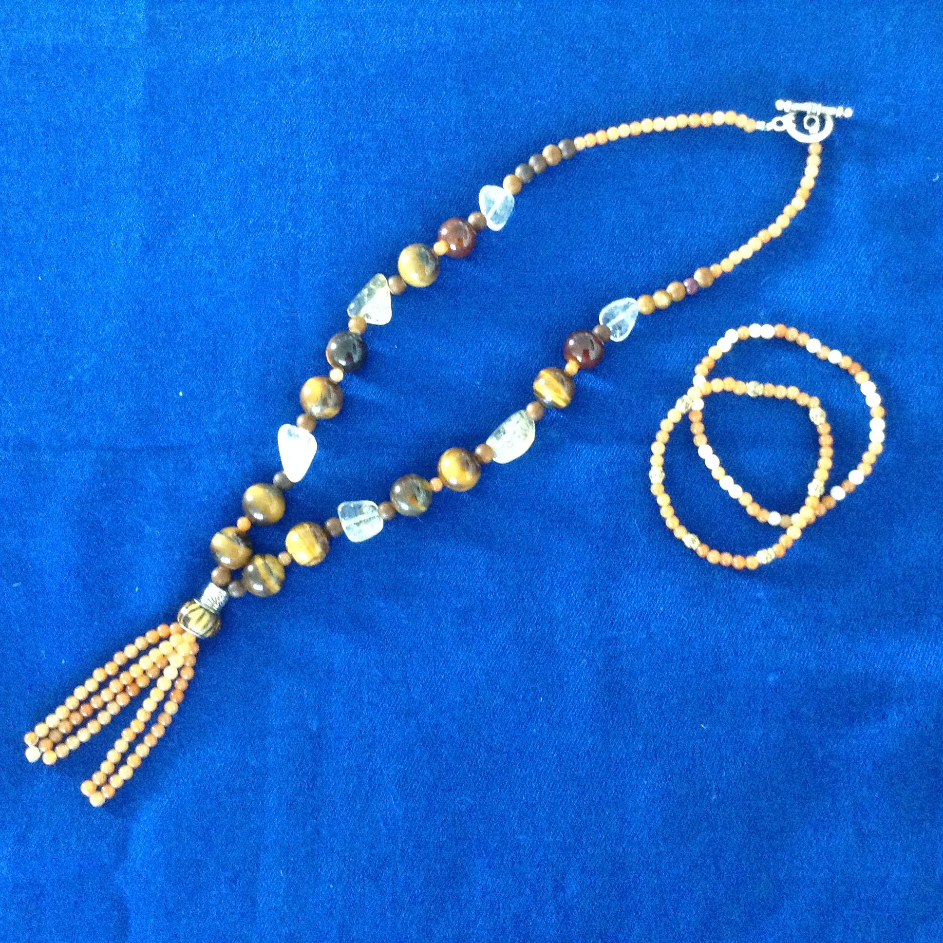 Brun/beige halsband och armband